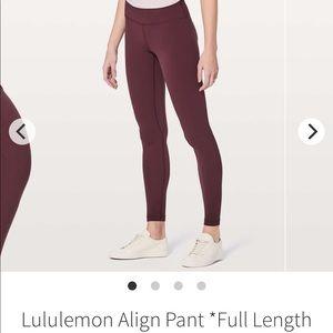 """lululemon Align Pant II - Redwood 28"""""""